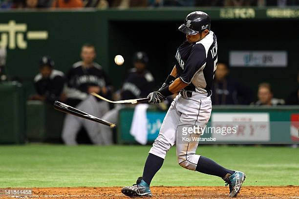 Outfielder Ichiro Suzuki of Seattle Mariners Ichiro Suzuki of Seattle Mariners bat breaks of in the top half of the third inning during the pre...
