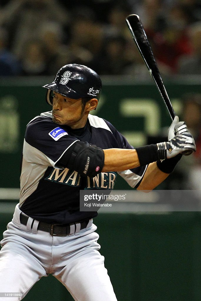 Outfielder Ichiro Suzuki #51 of Seattle Mariners in action during in the top half of the first inning the pre season game between Yomiuri Giants and Seattle Mariners at Tokyo Dome on March 26, 2012 in Tokyo, Japan.
