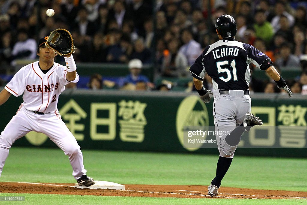 Outfielder Ichiro Suzuki #51 of Seattle Mariners in action during in the top half of the third inning the pre season game between Yomiuri Giants and Seattle Mariners at Tokyo Dome on March 26, 2012 in Tokyo, Japan.