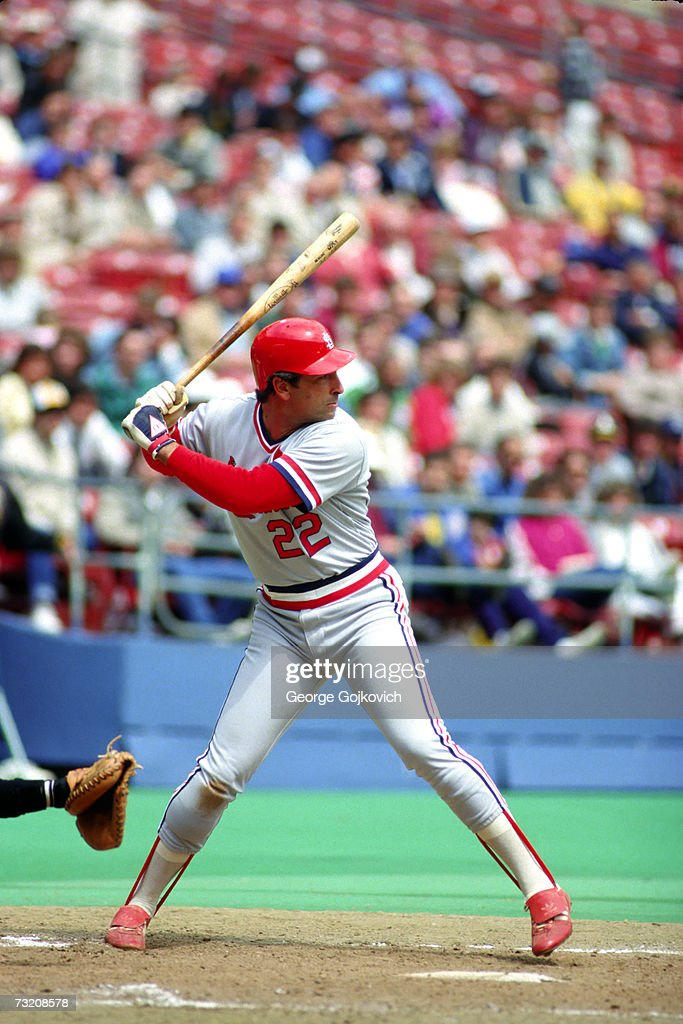 Outfielder Jack Clark of the St Louis Cardinals bats against the Pttsburgh Pirates at Three Rivers Stadium in 1987 in Pittsburgh Pennsylvania Photo...