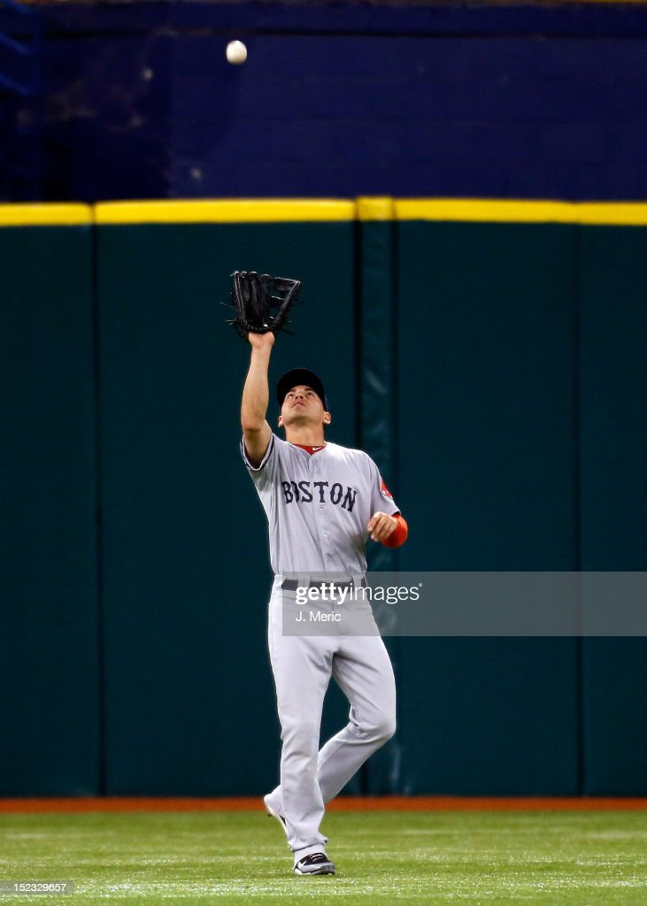 Outfielder <a gi-track='captionPersonalityLinkClicked' href=/galleries/search?phrase=Jacoby+Ellsbury&family=editorial&specificpeople=4172583 ng-click='$event.stopPropagation()'>Jacoby Ellsbury</a> #2 of the Boston Red Sox catches a fly ball against the Tampa Bay Rays during the game at Tropicana Field on September 18, 2012 in St. Petersburg, Florida.
