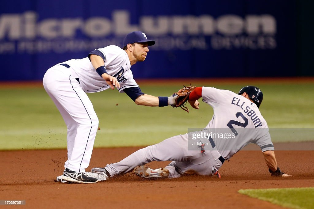 Outfielder <a gi-track='captionPersonalityLinkClicked' href=/galleries/search?phrase=Jacoby+Ellsbury&family=editorial&specificpeople=4172583 ng-click='$event.stopPropagation()'>Jacoby Ellsbury</a> #2 of the Boston Red Sox steals second base as <a gi-track='captionPersonalityLinkClicked' href=/galleries/search?phrase=Ben+Zobrist&family=editorial&specificpeople=2120037 ng-click='$event.stopPropagation()'>Ben Zobrist</a> #18 of the Tampa Bay Rays is late with the tag during the game at Tropicana Field on June 12, 2013 in St. Petersburg, Florida.