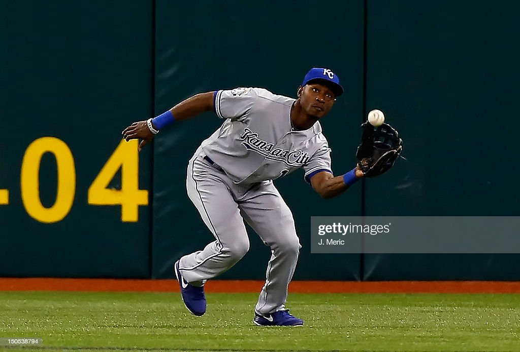 Outfielder Jarrod Dyson #1 of the Kansas City Royals catches a fly ball against the Tampa Bay Rays during the game at Tropicana Field on August 20, 2012 in St. Petersburg, Florida.