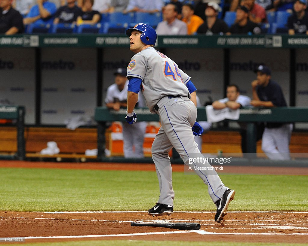 Outfielder <a gi-track='captionPersonalityLinkClicked' href=/galleries/search?phrase=Jason+Bay&family=editorial&specificpeople=214251 ng-click='$event.stopPropagation()'>Jason Bay</a> #44 of the New York Mets follows a home run against the Tampa Bay Rays June 14, 2012 at Tropicana Field in St. Petersburg, Florida.
