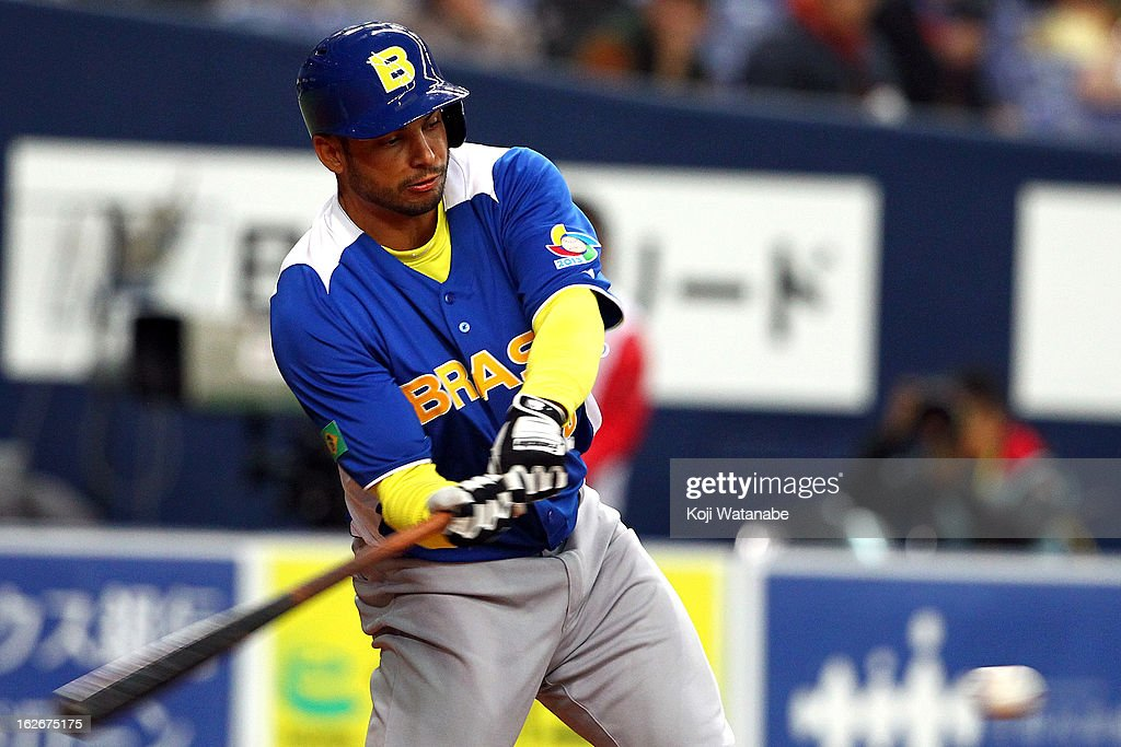 Outfielder Jean Tome #35 of Brazil at bat during the friendly game between Orix Buffaloes and Brazil at Kyocera Dome Osaka on February 26, 2013 in Osaka, Japan.