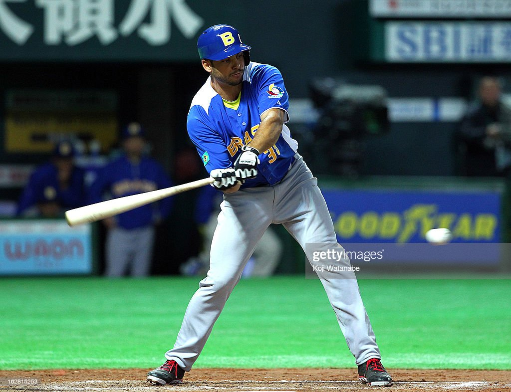 Outfielder Jean Tome #35 of Brazil in action during the friendly game between Fukuoka Softbank Hawks and Brazil at Fukuoka Yafuoku! Dome on February 28, 2013 in Fukuoka, Japan.