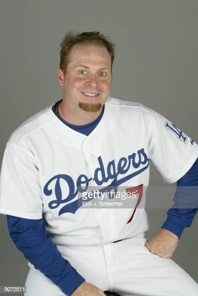 Outfielder Jeremy Giambi of the Los Angeles Dodgers during photo day February 27 2004 at Holman Stadium in Vero Beach Florida