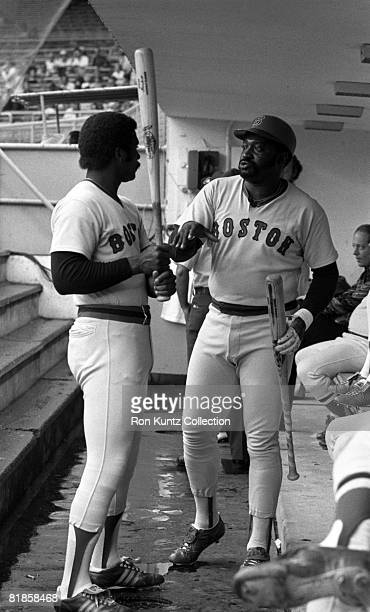 Outfielder Jim Rice and firstbaseman George Scott of the Boston Red Sox talk in the dugout prior to a game on July 11 1977 against the Cleveland...