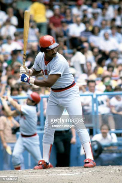 Outfielder Jim Rice of the Boston Red Sox in the batters box during a game in July 1978 against the Cleveland Indians at Municipal Stadium in...