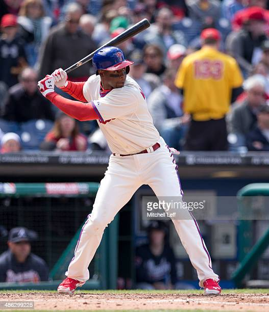 Outfielder John Mayberry Jr #15 of the Philadelphia Phillies stands in the batter box against the Atlanta Braves on April 17 2014 at Citizens Bank...
