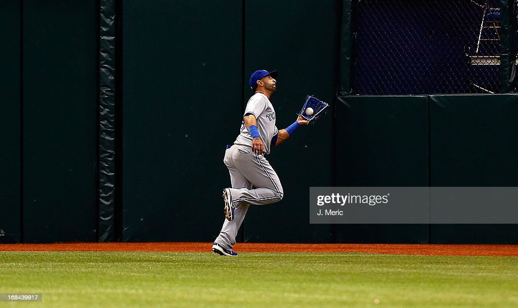 Outfielder Jose Bautista #19 of the Toronto Blue Jays catches a fly ball against the Tampa Bay Rays during the game at Tropicana Field on May 9, 2013 in St. Petersburg, Florida.