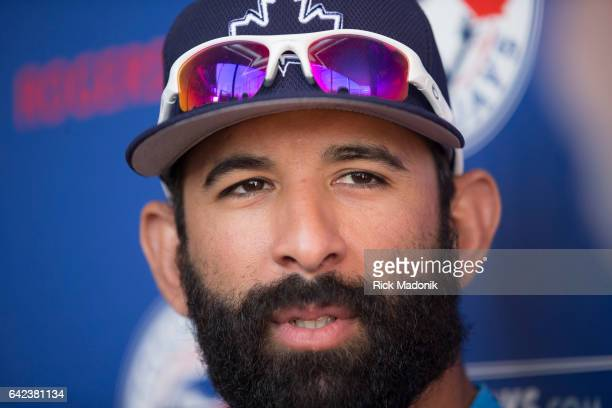 Outfielder Jose Bautista speaks to the media during a scrum Toronto Blue Jays continue the preparations for the upcoming Grapefruit season at Bobby...
