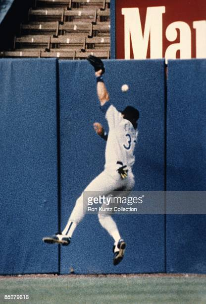 Outfielder Jose Canseco of the Texas Rangers has the ball hit by Carlos Martinez of the Cleveland Indians bounce off his head and over the fence for...
