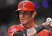 Outfielder Josh Hamilton of the Los Angeles Angels of Anaheim sets to bat against the Tampa Bay Rays August 28 2013 at Tropicana Field in St...