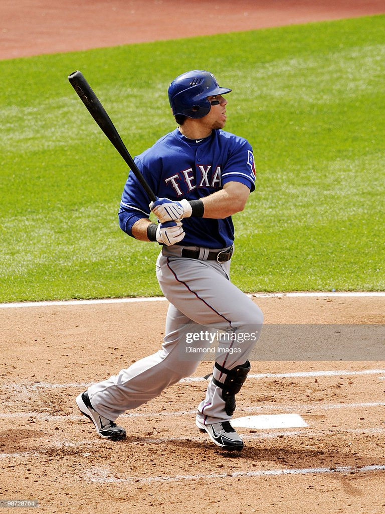 Outfielder <a gi-track='captionPersonalityLinkClicked' href=/galleries/search?phrase=Josh+Hamilton+-+Baseball+Player&family=editorial&specificpeople=234355 ng-click='$event.stopPropagation()'>Josh Hamilton</a> #32 of the Texas Rangers bats during a game on April 12, 2010 against the Cleveland Indians at Progressive Field in Cleveland, Ohio. Texas won 4-2.