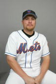 Outfielder Karim Garcia of the New York Mets during Spring Training photo day February 29 2004 in Port St Lucie Florida
