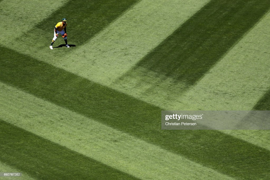 Outfielder Khris Davis #2 of the Oakland Athletics in action during the MLB game against the Washington Nationals at Oakland Coliseum on June 3, 2017 in Oakland, California.
