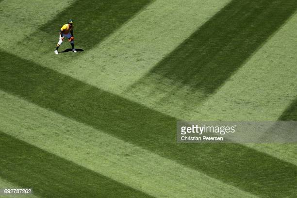 Outfielder Khris Davis of the Oakland Athletics in action during the MLB game against the Washington Nationals at Oakland Coliseum on June 3 2017 in...