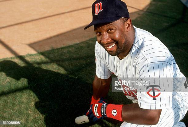 Outfielder Kirby Puckett of the Minnesota Twins poses for this portrait during Major League Baseball spring training circa 1992 a Hammond Stadium in...