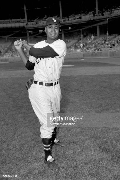 Outfielder Larry Doby of the Chicago White Sox poses for a portrait prior to a game in 1956 against the New York Yankees at Yankee Stadium in New...