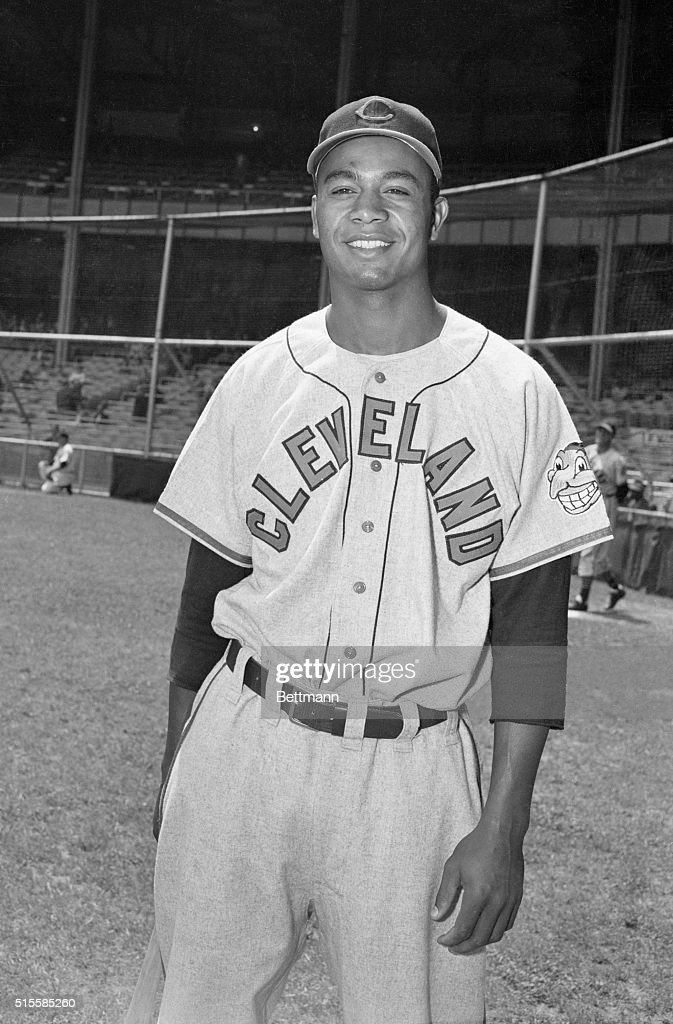 Outfielder Larry Doby of the Cleveland Indians. Doby was the first African American to play in the American League.