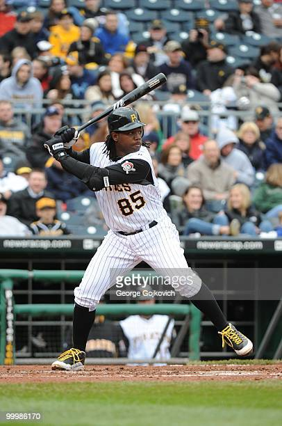 Outfielder Lastings Milledge of the Pittsburgh Pirates bats during a Major League Baseball game against the Cincinnati Reds at PNC Park on April 18...