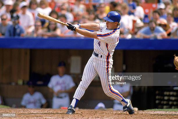Outfielder Lenny Dykstra of the New York Mets at bat during a 1989 game at Shea Stadium in Flushing New York