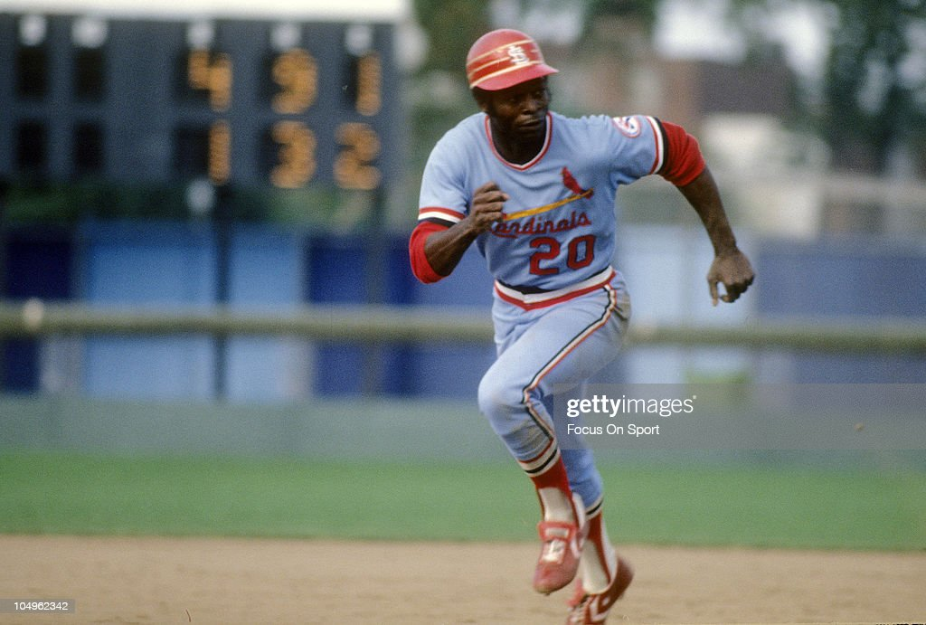 Outfielder <a gi-track='captionPersonalityLinkClicked' href=/galleries/search?phrase=Lou+Brock&family=editorial&specificpeople=207012 ng-click='$event.stopPropagation()'>Lou Brock</a> #20 of the St. Louis Cardinals running the bases against the Montreal Expos during a Major League Baseball game circa 1978 at Olympic Stadium in Montreal, Quebec. Brock played for the Cardinals from 1964-79.