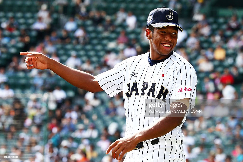 Outfielder Louis Okoye in action during in the super round game between Japan v Cuba during the 2015 WBSC U18 Baseball World Cup at the Koshien...