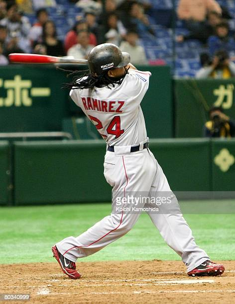 Outfielder Manny Ramirez of Boston Red Sox bats during preseason friendly between Boston Red Sox and Hanshin Tigers at Tokyo Dome on March 22 2008 in...
