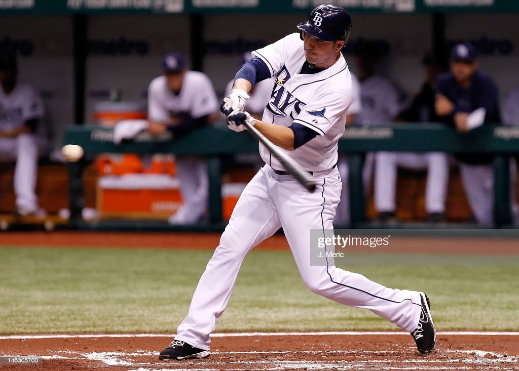 Outfielder Matt Joyce #20 of the Tampa Bay Rays fouls off a pitch against the New York Mets during the game at Tropicana Field on June 13, 2012 in St. Petersburg, Florida.