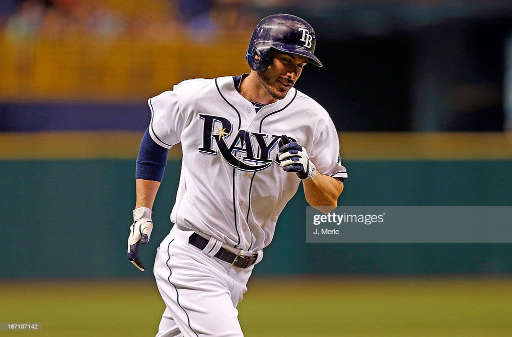 Outfielder Matt Joyce #20 of the Tampa Bay Rays rounds the bases after his second inning home run against the Oakland Athletics during the game at Tropicana Field on April 20, 2013 in St. Petersburg, Florida.