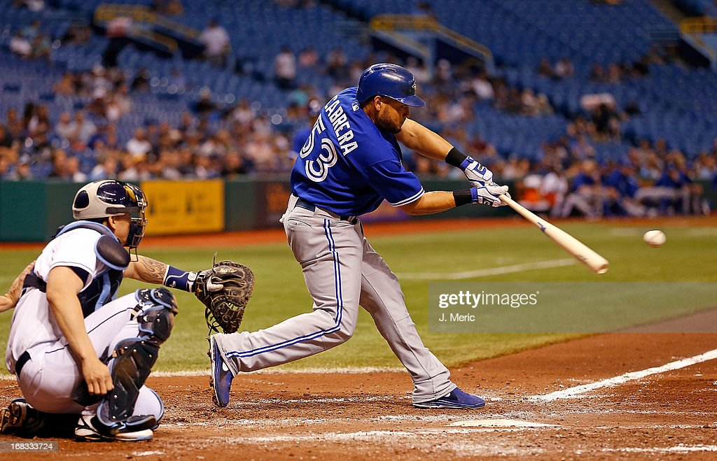 Outfielder <a gi-track='captionPersonalityLinkClicked' href=/galleries/search?phrase=Melky+Cabrera&family=editorial&specificpeople=453444 ng-click='$event.stopPropagation()'>Melky Cabrera</a> #53 of the Toronto Blue Jays fouls off a pitch against the Tampa Bay Rays during the game at Tropicana Field on May 8, 2013 in St. Petersburg, Florida.