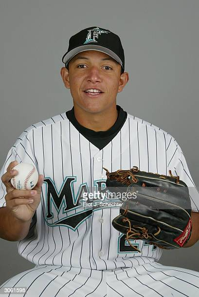 Outfielder Miguel Cabrera of the Florida Marlins during photo day February 28 2004 at Roger Dean Stadium in Jupiter Florida