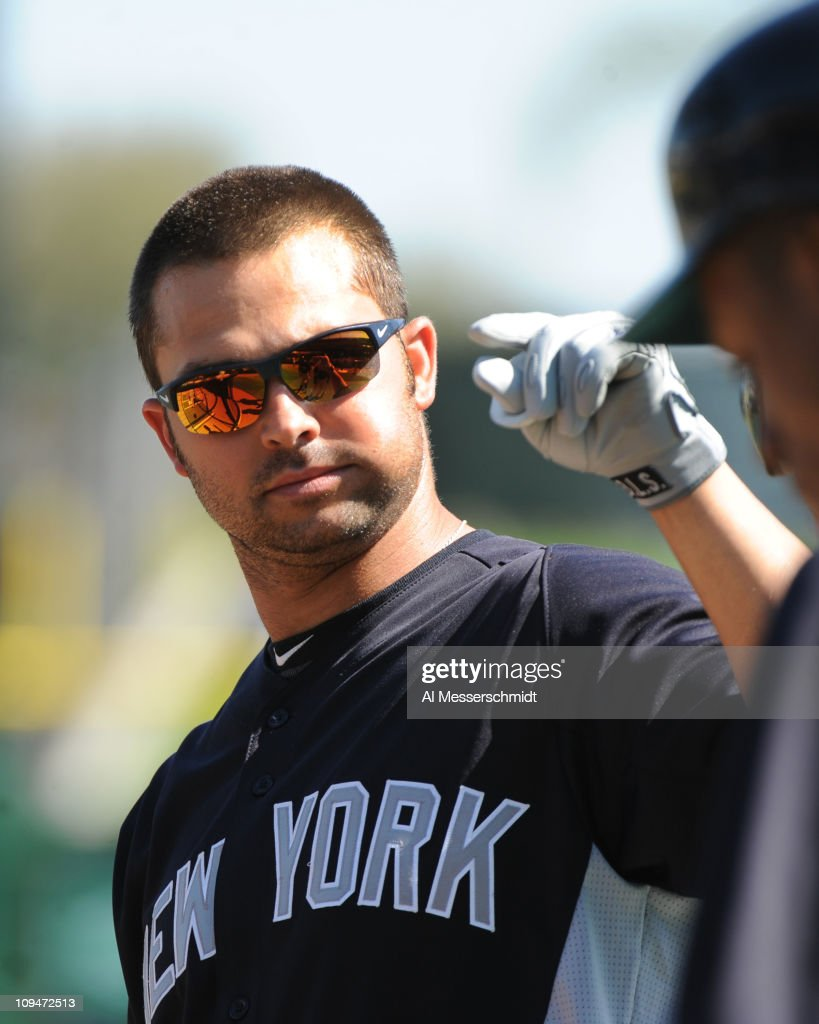 Outfielder Nick Swisher of the New York Yankees takes batting practice before play against the Philadelphia Phillies February 27 2011 at Bright House...