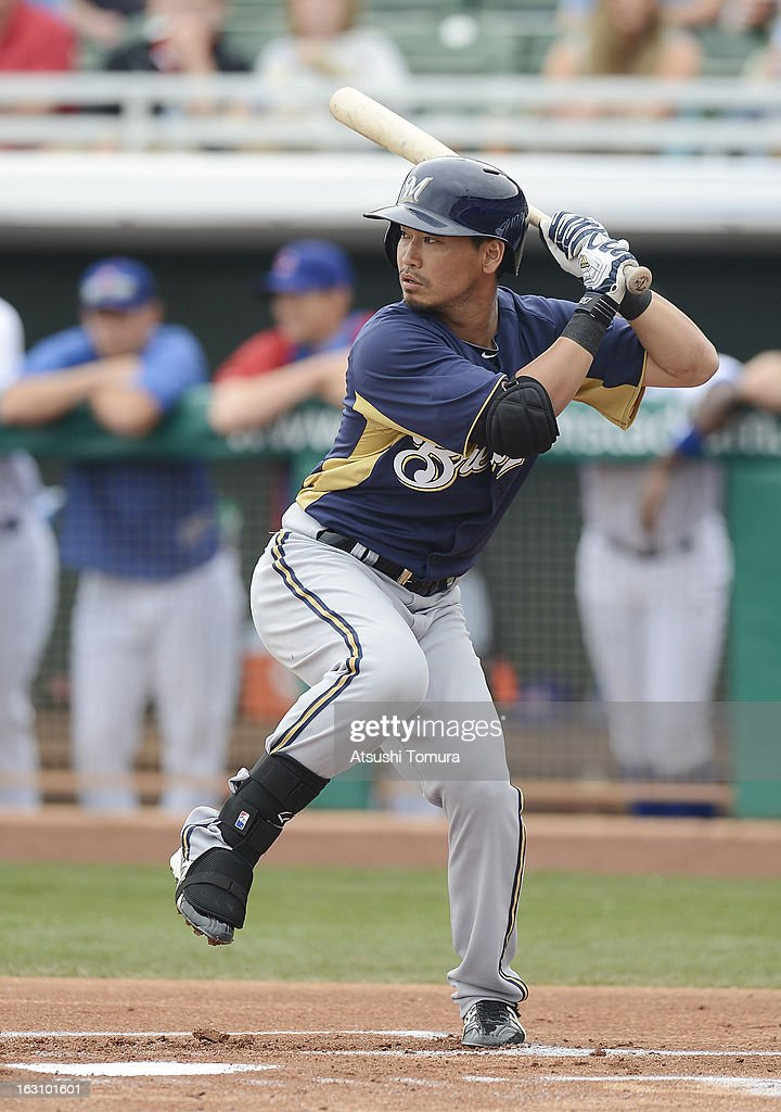 Outfielder Norichika Aoki #7 of Milwaukee Brewers at bat during spring training match against Chicago Cubs on March 3, 2013 in Mesa, Arizona.