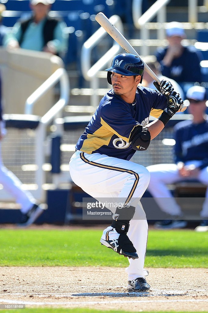Outfielder Norichika Aoki #7 of Milwaukee Brewers at bat during spring training on March 3, 2013 in Phoenix, Arizona.