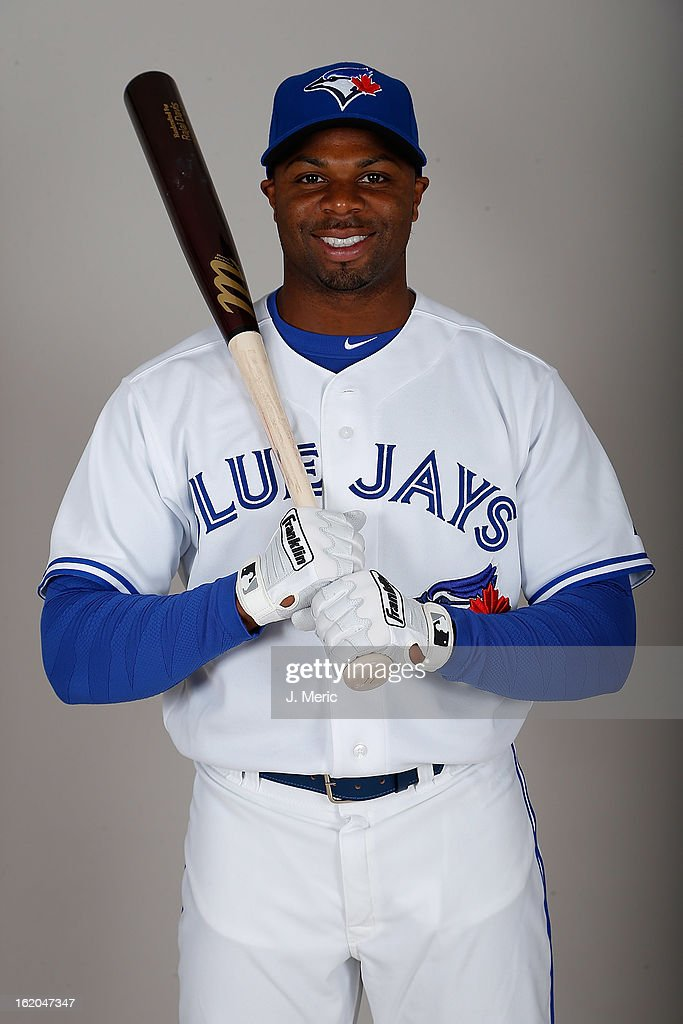 Outfielder <a gi-track='captionPersonalityLinkClicked' href=/galleries/search?phrase=Rajai+Davis&family=editorial&specificpeople=810608 ng-click='$event.stopPropagation()'>Rajai Davis</a> #11 of the Toronto Blue Jays poses for a photo during photo day at Florida Auto Exchange Stadium on February 18, 2013 in Dunedin, Florida.