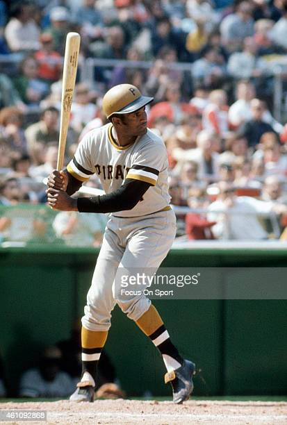 Outfielder Roberto Clemente' #21of Pittsburgh Pirates bats during an Major League Baseball game circa 1970 Clemente' Played for the Pirates from...
