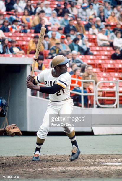 Outfielder Roberto Clemente' #21of Pittsburgh Pirates bats during an Major League Baseball game circa 1970 at Three Rivers Stadium in Pittsburgh...
