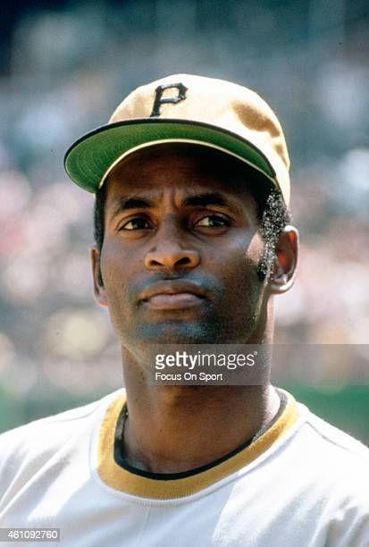 Outfielder Roberto Clemente' #21of Pittsburgh Pirates looks on in this portrait prior to the start of a Major League Baseball game circa 1970...