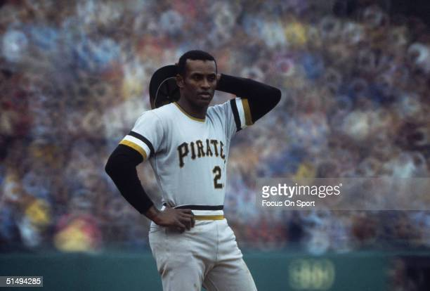 Outfielder Roberto Clemente of the Pittsburgh Pirates takes a breather on the field during the 1960s