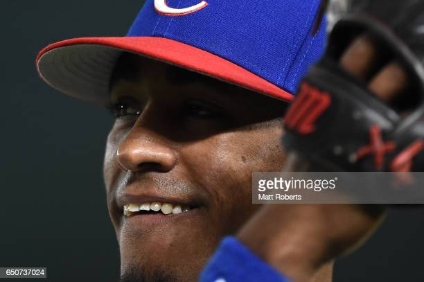 Outfielder Roel Santos of Cuba looks on prior to the World Baseball Classic Pool B Game Five between Australia and Cuba at the Tokyo Dome on March 10...