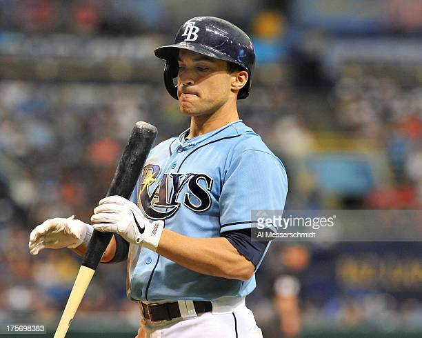 Outfielder Sam Fuld of the Tampa Bay Rays sets to bat against the San Francisco Giants August 4 2013 at Tropicana Field in St Petersburg Florida The...