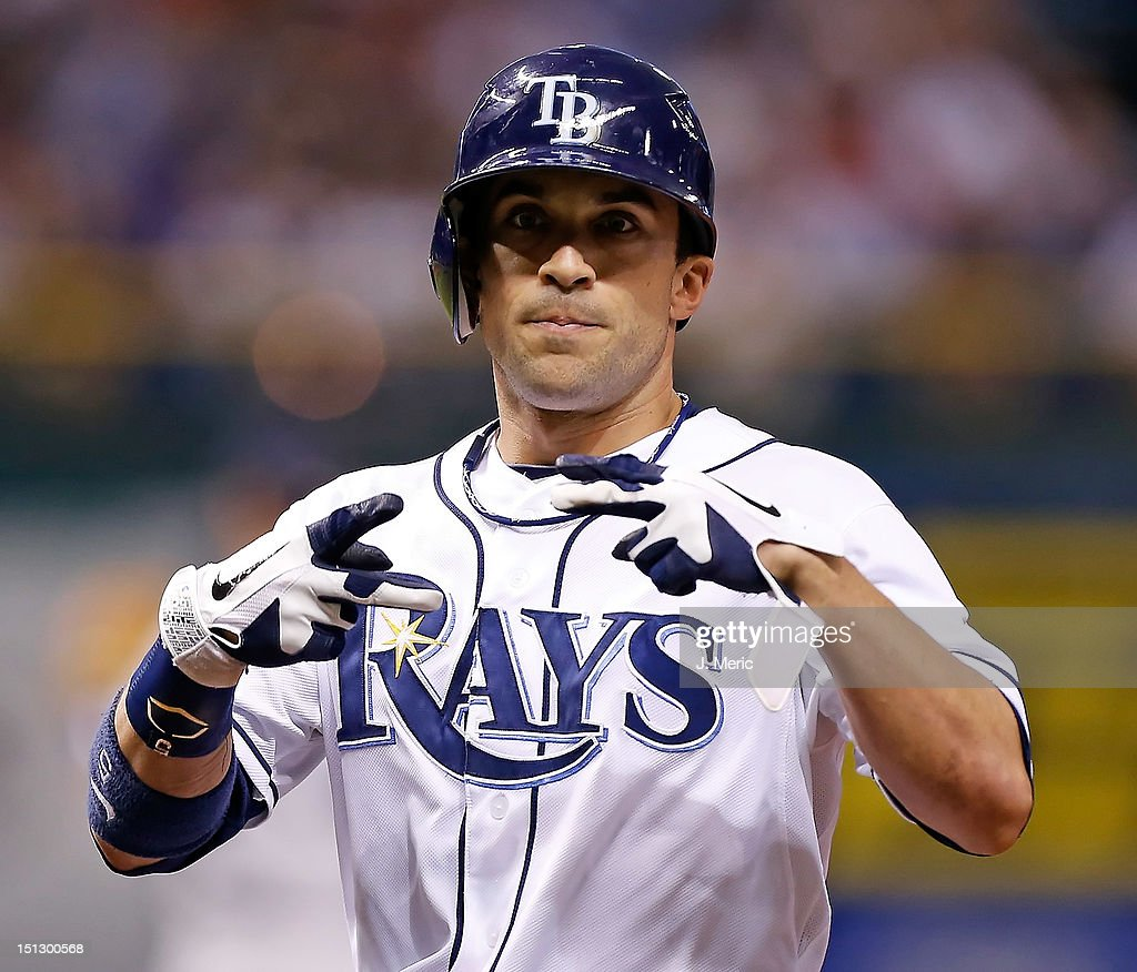 Outfielder <a gi-track='captionPersonalityLinkClicked' href=/galleries/search?phrase=Sam+Fuld&family=editorial&specificpeople=4505687 ng-click='$event.stopPropagation()'>Sam Fuld</a> #5 of the Tampa Bay Rays signals to the dugout against the New York Yankees during the game at Tropicana Field on September 5, 2012 in St. Petersburg, Florida.
