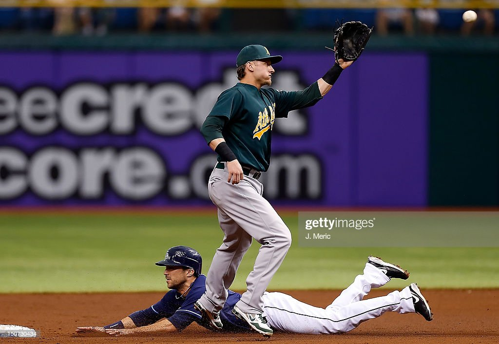 Outfielder Sam Fuld #5 of the Tampa Bay Rays steals second base as shortstop Stephen Drew #5 of the Oakland Athletics takes the throw during the game at Tropicana Field on August 25, 2012 in St. Petersburg, Florida.