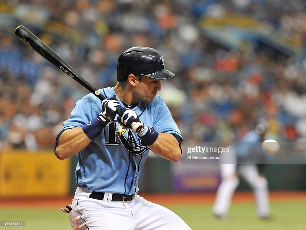 Outfielder <a gi-track='captionPersonalityLinkClicked' href=/galleries/search?phrase=Sean+Rodriguez&family=editorial&specificpeople=4171805 ng-click='$event.stopPropagation()'>Sean Rodriguez</a> #1 of the Tampa Bay Rays takes a strike against the New York Yankees May 26, 2013 at Tropicana Field in St. Petersburg, Florida.