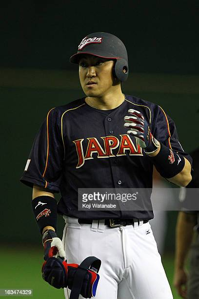 Outfielder Seiichi Uchikawa of Japan in action during the World Baseball Classic Second Round Pool 1 game between Japan and the Netherlands at Tokyo...