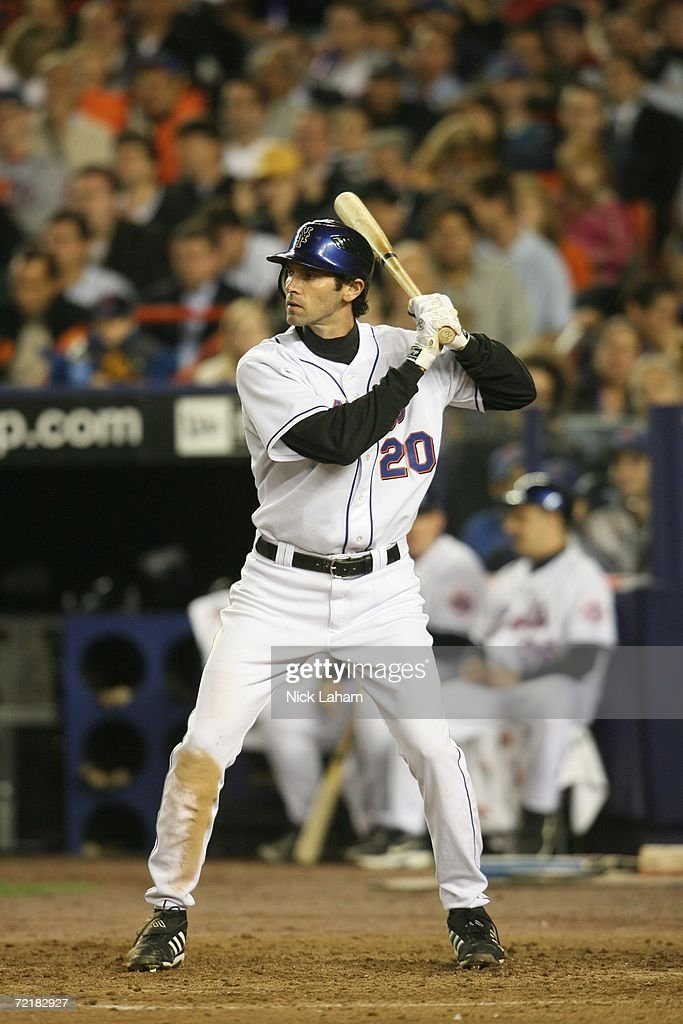 Outfielder Shawn Green of the New York Mets waits for a St Louis Cardinals pitch during game one of the NLCS at Shea Stadium on October 12 2006 in...