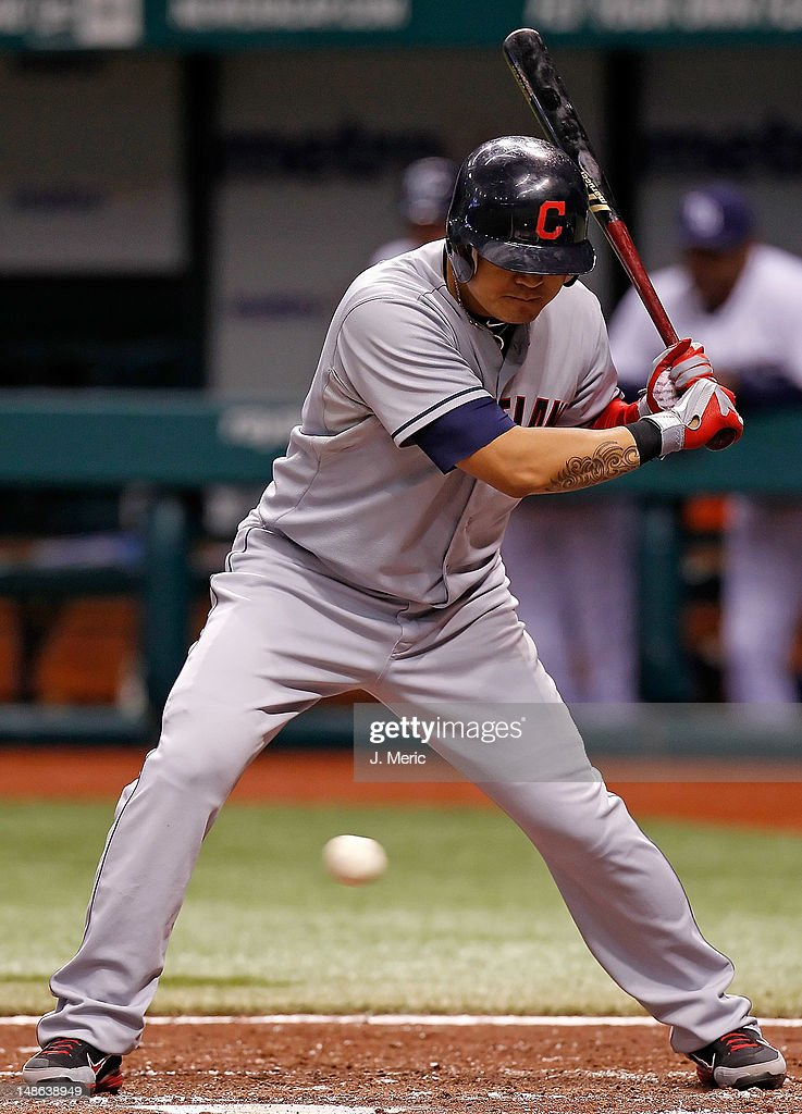 Outfielder <a gi-track='captionPersonalityLinkClicked' href=/galleries/search?phrase=Shin-Soo+Choo&family=editorial&specificpeople=196543 ng-click='$event.stopPropagation()'>Shin-Soo Choo</a> #17 of the Cleveland Indians bats against the Tampa Bay Rays during the game at Tropicana Field on July 18, 2012 in St. Petersburg, Florida.